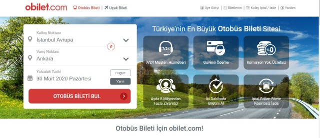 obilet websitesi