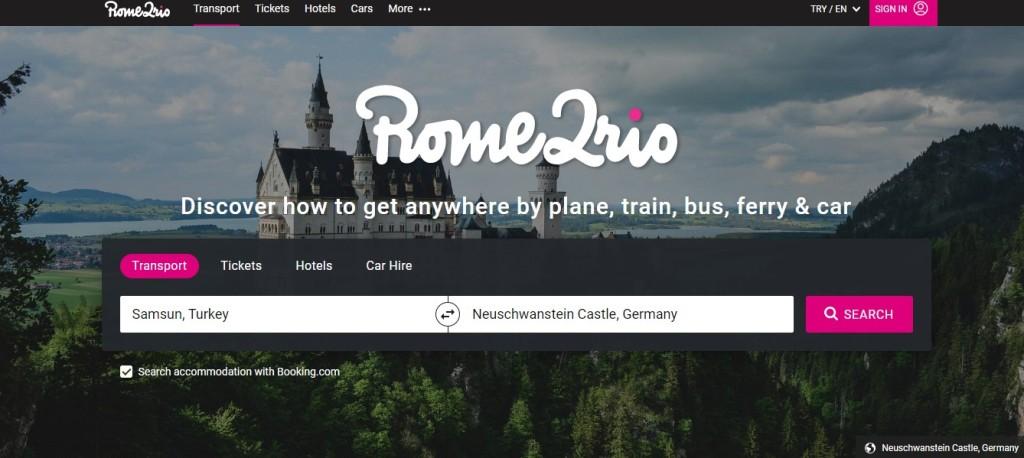 rome2rio.com websitesi