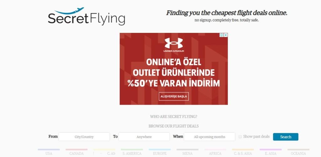 secretflying.com websitesi