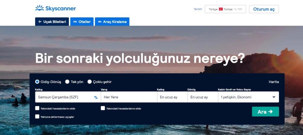 skyscanner websitesi