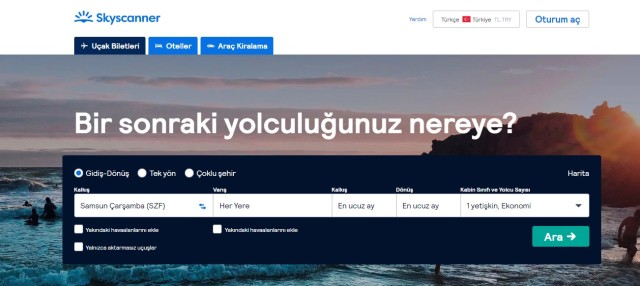 skyscanner websitesi