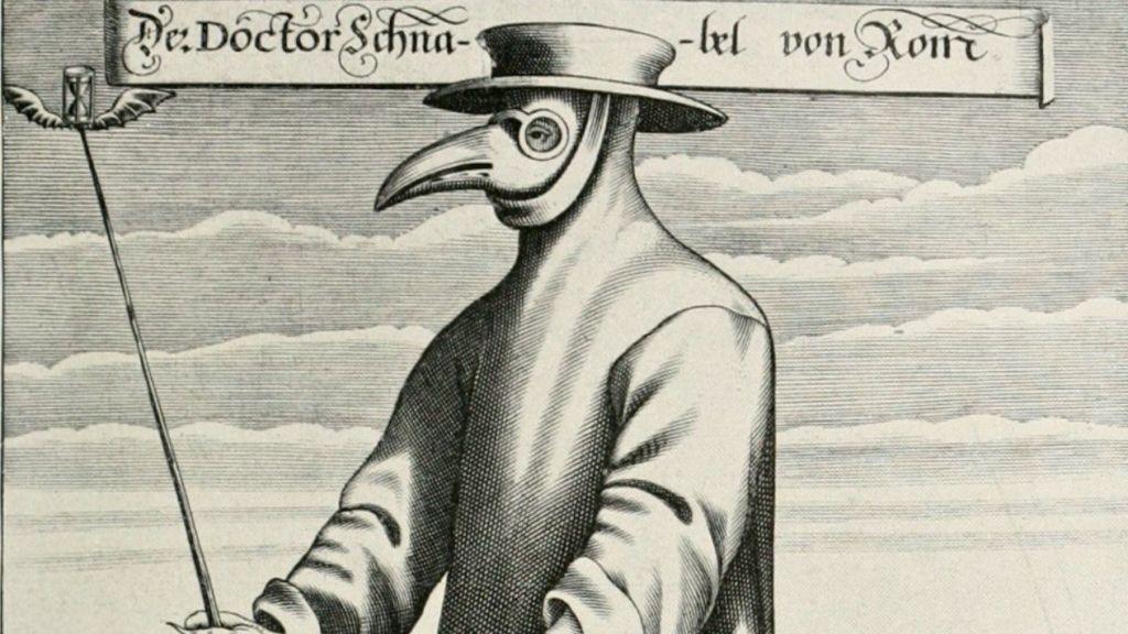 17. yüzyılda Fransız doktor Charles de Lorme tarafından tasarlanan veba maskesi